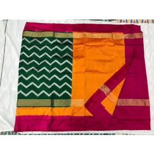 Pure ikkat silk sarees with blouse 16